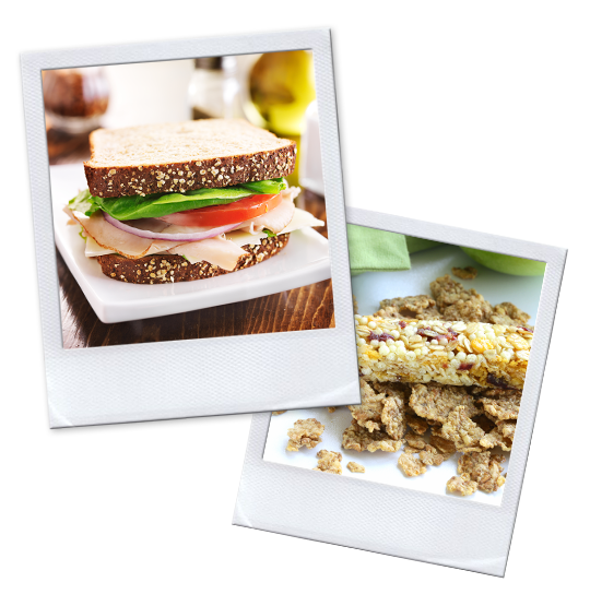 Fresh sandwich and healthy granola bars