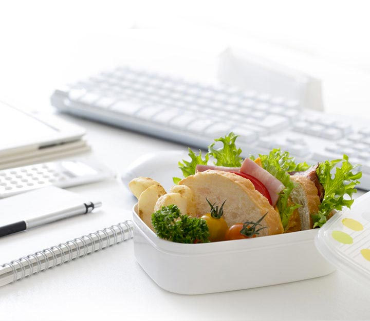 Healthy salad on an office desk